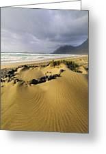 Caleta De Famara Beach On Lanzarote Greeting Card