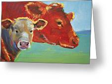 Calf And Cow Painting Greeting Card