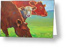 Calf And Cows Painting Greeting Card