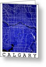 Calgary Street Map - Calgary Canada Road Map Art On Colored Back Greeting Card