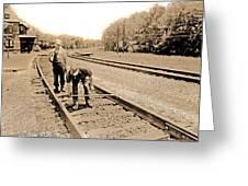 Calibrating The Rails Greeting Card