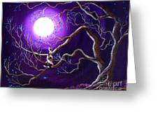 Calico Cat In Haunted Tree Greeting Card