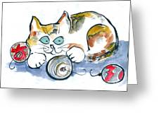 Calico Kitty With Three Ornaments Greeting Card