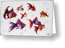 Calico Ryukin Goldfish Greeting Card