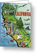 California Cartoon Map Greeting Card