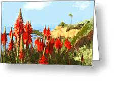California Coastline With Red Hot Poker Plants Greeting Card