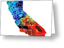 California - Map Counties By Sharon Cummings Greeting Card