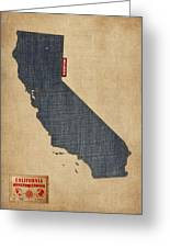 California Map Denim Jeans Style Greeting Card by Michael Tompsett