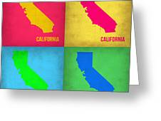 California Pop Art Map 1 Greeting Card by Naxart Studio