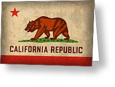 California State Flag Art On Worn Canvas Greeting Card by Design Turnpike
