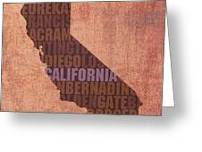 California Word Art State Map On Canvas Greeting Card