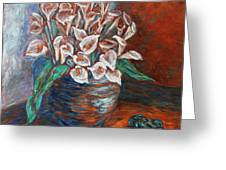 Calla Lilies And Frog Greeting Card