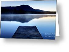 Calm Pond With Boardwalk Greeting Card