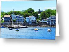 Calm Summer Day At Rockport Harbor Greeting Card