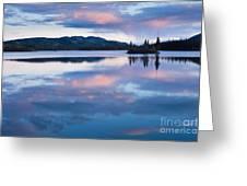 Calm Twin Lakes At Sunset Yukon Territory Canada Greeting Card