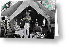 Calvary Troopers On Bivouac Tent Date Unknown Image Restored Color Added 2008  Greeting Card