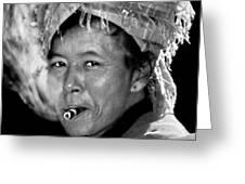 Cambodian Lady Smoker Greeting Card