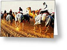 Camel Train Greeting Card by Peter Waters