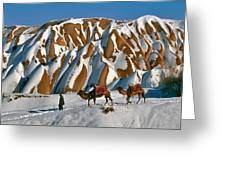 Camels On The Snow Greeting Card