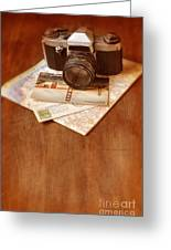 Camera Map And Postcards Greeting Card