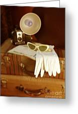 Camera Sunglasses On Luggage Greeting Card