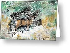 Camouflaged Mule Deer Buck In Winter Greeting Card