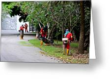 Camouflaged Leaf Blowers Working In Singapore Park Greeting Card