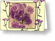 Campanula Framed With Pressed Petals Greeting Card