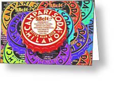 Campari Soda Caps Greeting Card by Tony Rubino