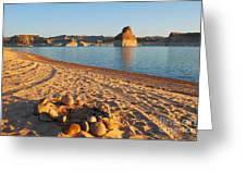 Campfire Ring On Lone Rock Beach  Greeting Card