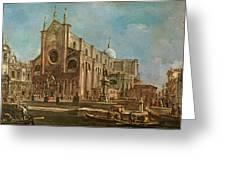 Campo Dei Santi Giovanni E Paolo And The Scuola Grande Di San Marco, Venice Oil On Canvas Greeting Card