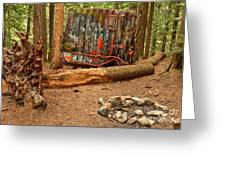 Campsite By The Box Car Greeting Card