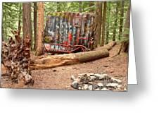 Campsite Near A Train Wreck Greeting Card