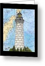 Cana Island Lighthouse Wi Nautical Chart Map Art Greeting Card