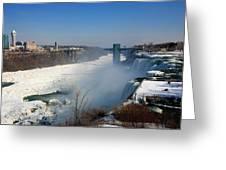 Canada And America At Niagara Falls Greeting Card