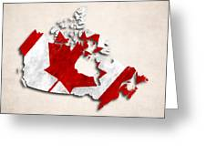 Canada Map Art With Flag Design Greeting Card