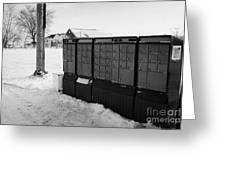 canada post post mailboxes in rural small town Forget Saskatchewan Canada Greeting Card by Joe Fox