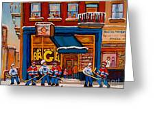 Canadian  Artists Paint Hockey And Montreal Streetscenes Over 500 Prints Available  Greeting Card
