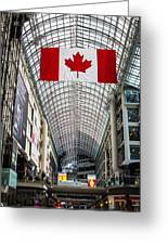Canadian Flag Over Eaton Center Greeting Card