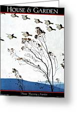 Canadian Geese Over Brown-leafed Trees Greeting Card