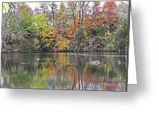 Canadian Goose Swimming Through The Autumn Reflections On The Pond Greeting Card