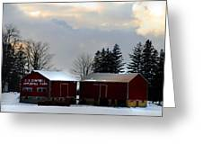 Canadian Snowy Farm Greeting Card