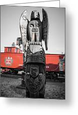 Canadian Totem And Railway Greeting Card