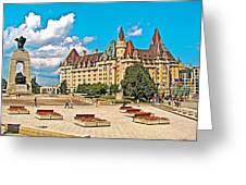 Canadian War Memorial And Chateau Laurier In Ottawa-ontario  Greeting Card