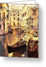 Canal And Docked Gondolas In Venice Greeting Card