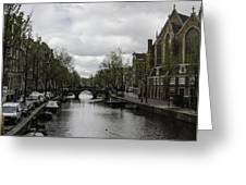 Canal Behind Oude Kerk In Amsterdam Greeting Card