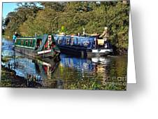 Canal Boats Passing Greeting Card