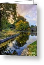 Canal Drifting Leaves Greeting Card