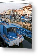 Canal In Grado With Fishing Boats Greeting Card