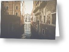 Canal In Venice Italy Applying Retro Instagram Style Filter Greeting Card